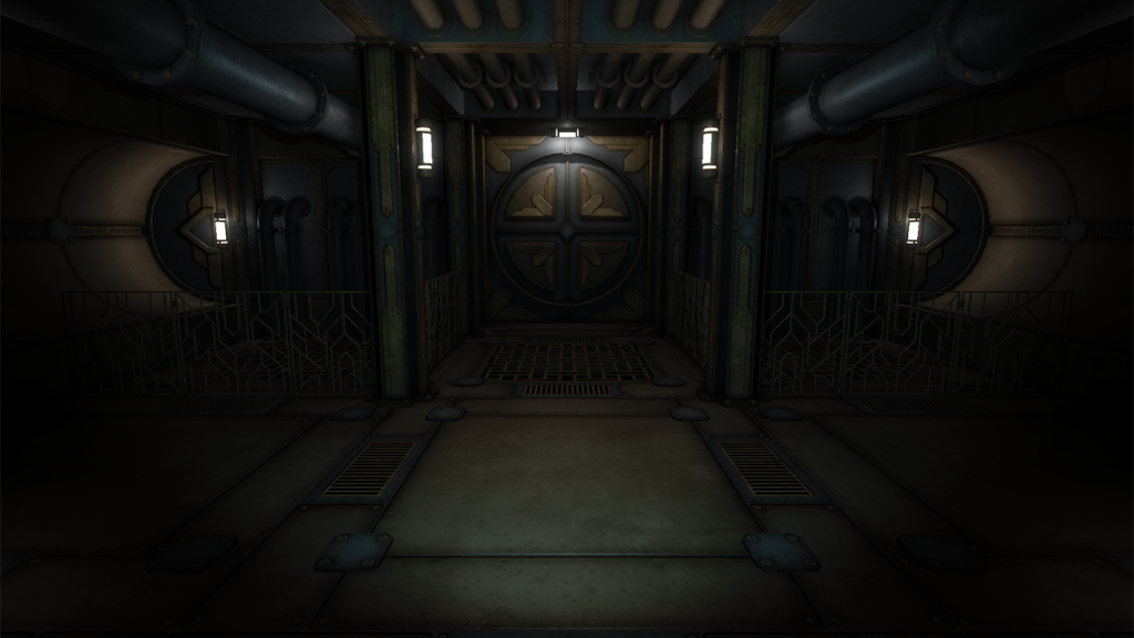 Vaporum screenshot depicting a room bordered by pipes and a large circular metal door in front.