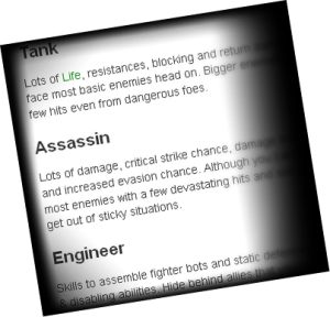 A slice of textual game documentation on character archetypes.
