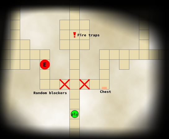 A top-down ground plan of a level showing the random blockers.
