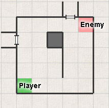 picture of a grid-divided space of obstacles and free tiles between player and enemy in vaporum