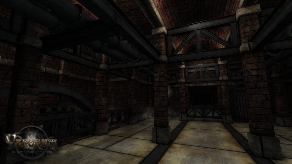 vaporum screen shot of an old brick wall style factory